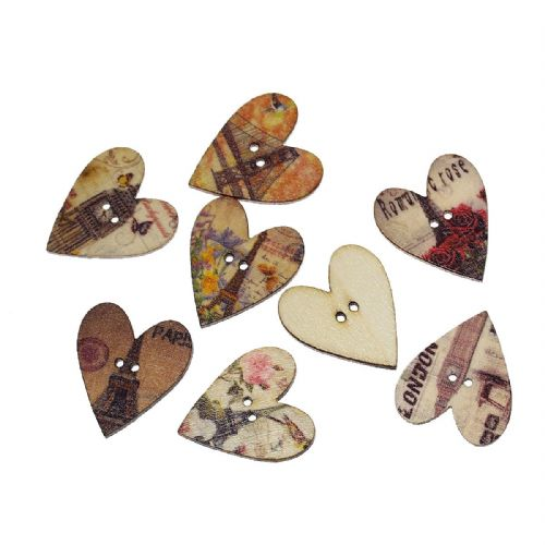 "2Wood Sewing Buttons Scrapbooking Heart At Random 2 Holes Eiffel Tower Building Pattern 28mm(1 1/8"")"